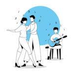man with guitar and couple dancing vector illustration design