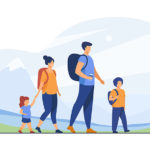 Happy active family walking outdoors. Couple of tourists with children hiking, carrying camping backpacks. Vector illustration for holiday, mountain trekking, activity, lifestyle concept